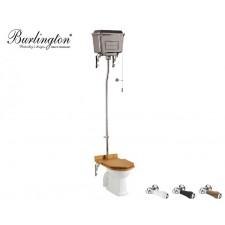 Keramik WC-Becken Classic mit hoch hängendem Chrom Spülkasten Nostalgie Retro Traditionell Antik