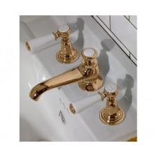 Nostalgie Dreiloch Waschtischarmatur Goddard Brass