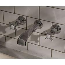 Nostalgie Dreiloch Waschtischarmatur Standen Kreuzgriff zur Wandmontage