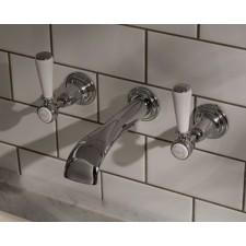 Nostalgie Dreiloch Waschtischarmatur Goddard zur Wandmontage