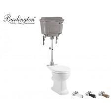 Keramik WC-Becken Classic mit halbhoch hängendem Chrom Spülkasten Nostalgie Retro Traditionell Antik