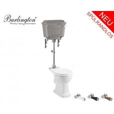 Spülrandloses Retro WC-Becken Classic mit hängendem Chrom Spülkasten