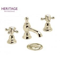 Nostalgie Dreiloch Waschtischarmatur Hartlebury Vintage Gold