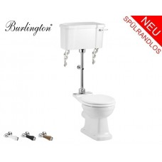 Retro Keramik WC-Becken Classic mit halb hoch hängendem Spülkasten Spülrandlos