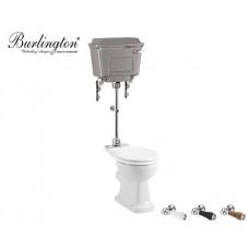 Retro Keramik WC-Becken Classic mit halbhoch hängendem Chrom Spülkasten