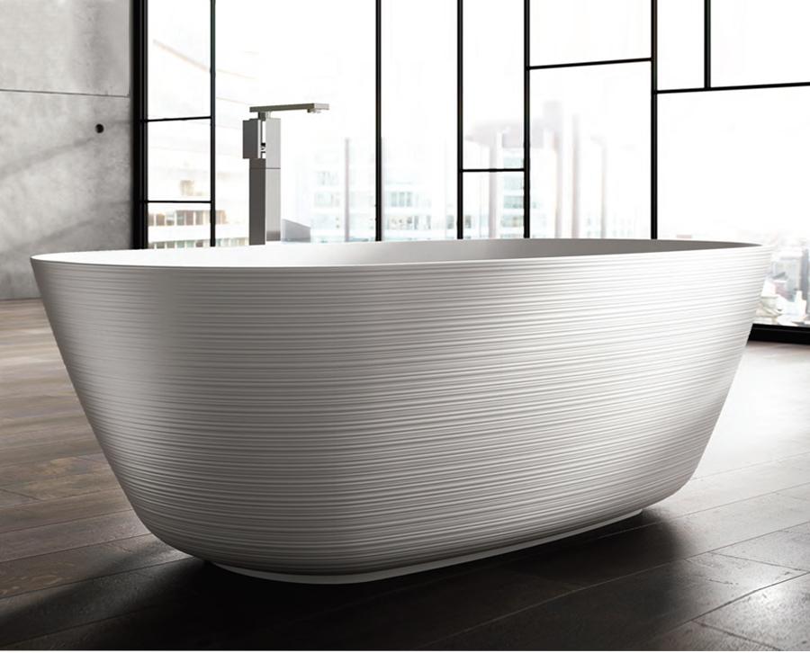 Freistehende Designer Badewanne aus Mineralguss Organic Téchni Classic & Stone