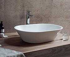 Mineralguss Aufsatz-Waschbecken oval